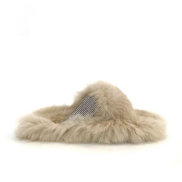 Redhollow Beige Cream Fluffy Home Slippers For Women