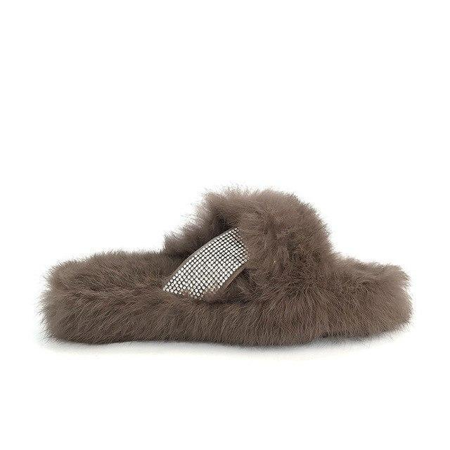 Redhollow Brown Fluffy Home Slippers For Women