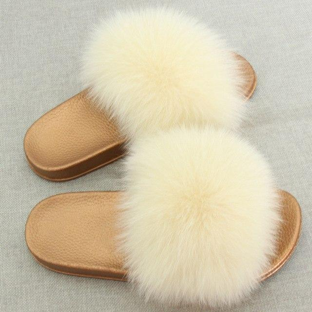 Redhollow Cream Furry Flip Flops Sliders For Women