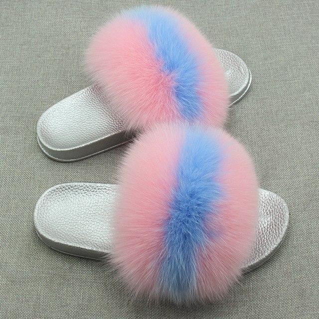 Redhollow Furry Flip Flops Blue Pink Sliders For Women