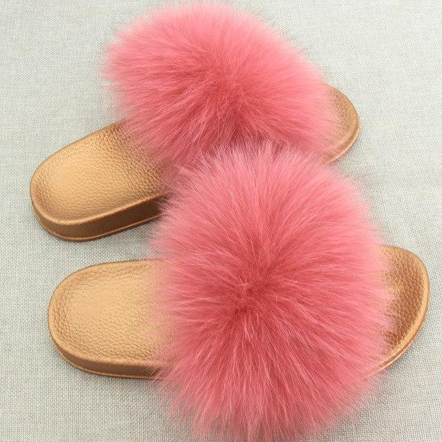 Redhollow Furry Flip Flops Pink Sliders For Women
