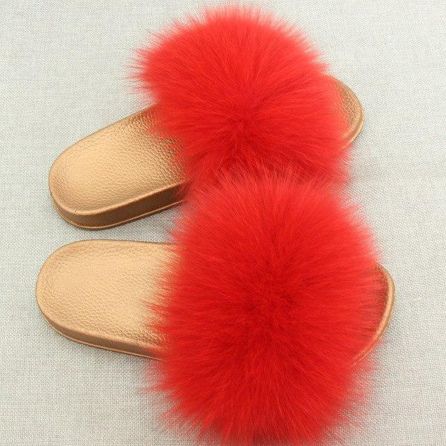 Redhollow Furry Flip Flops Red Sliders For Women