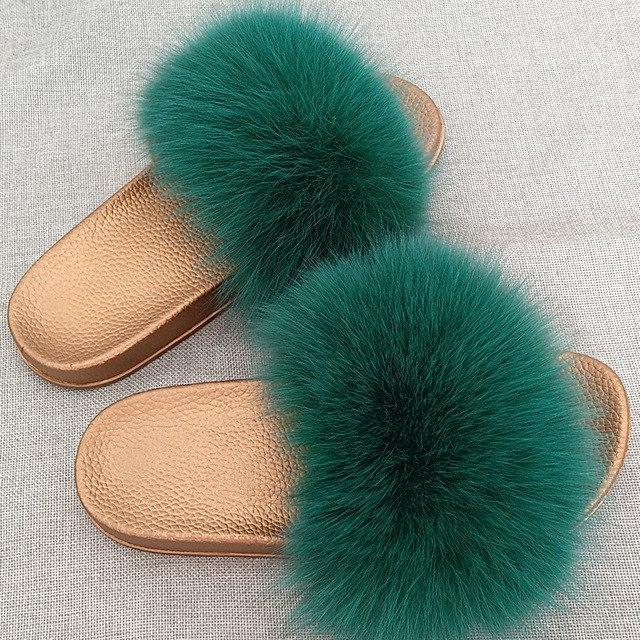 Redhollow Green Furry Flip Flops Sliders For Women