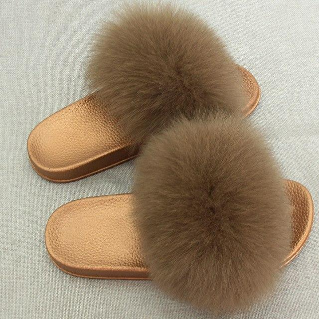 Redhollow Light Brown Furry Flip Flops Sliders For Women