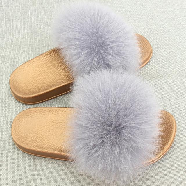 Redhollow Light Grey Furry Flip Flops Sliders For Women