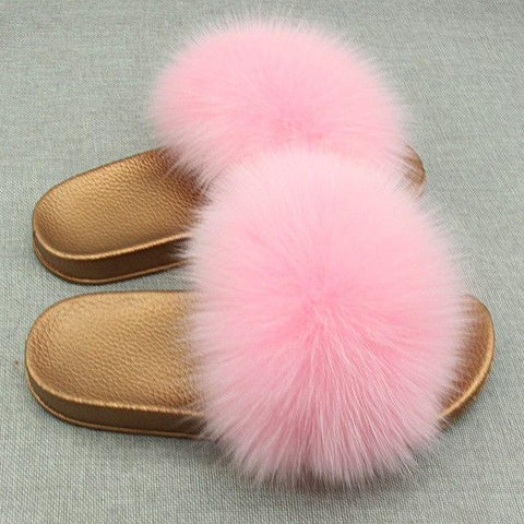Redhollow Pink Furry Flip Flops Sliders For Women