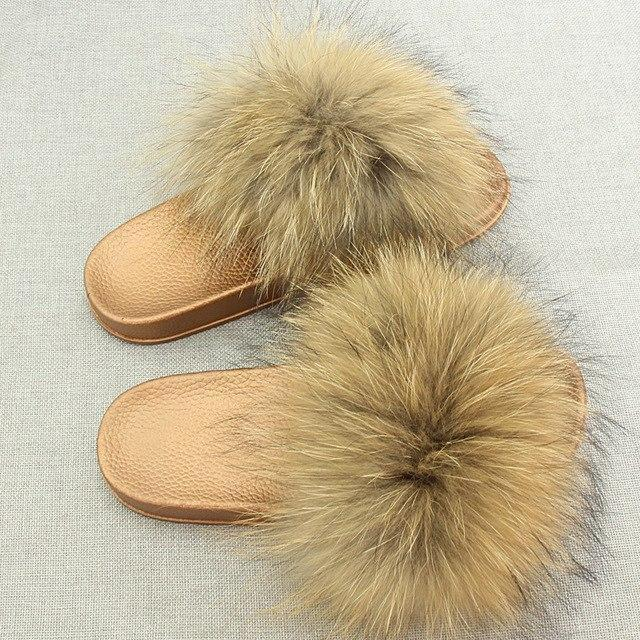 Redhollow Yellow Gold Furry Flip Flops Sliders For Women
