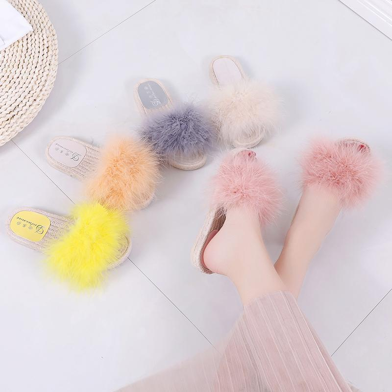 RUIYEE Grey Feather Fluffy Slide Slippers Sweet For Women