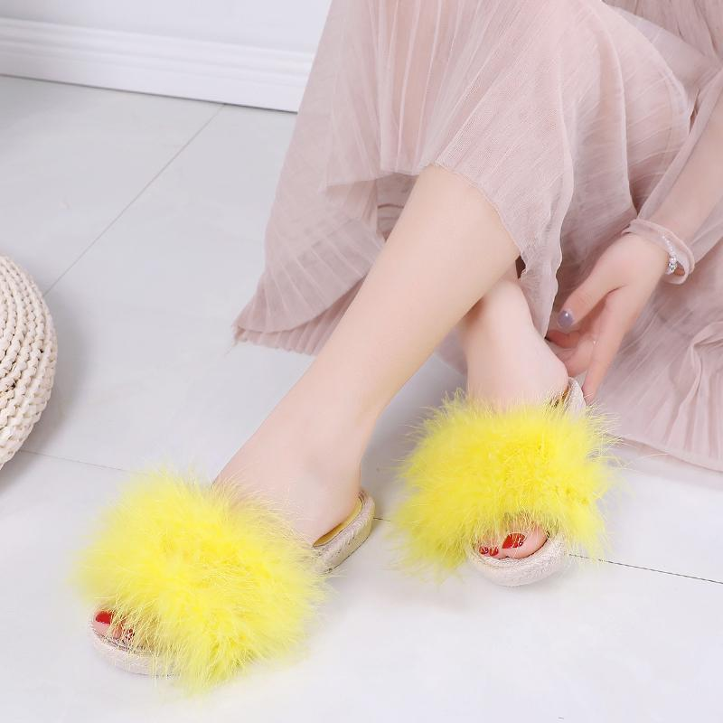 RUIYEE Yellow Feather Fluffy Slide Slippers For Women