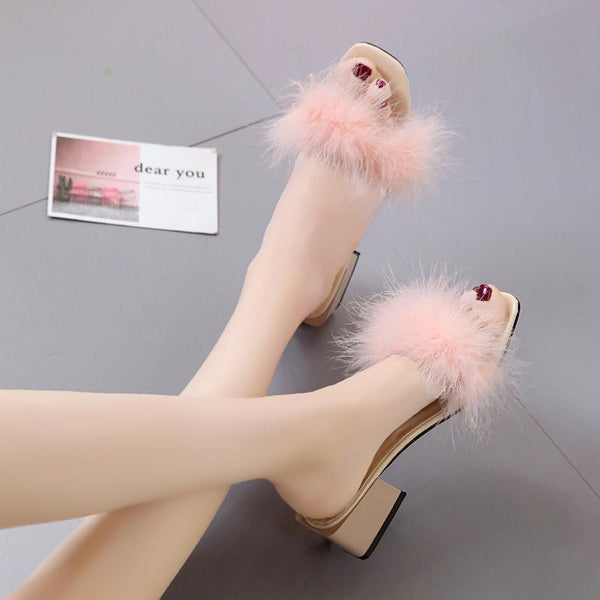 SHDIWEIKE Pink Furry Slide Sweet Feather Square Heel Bottom for Women