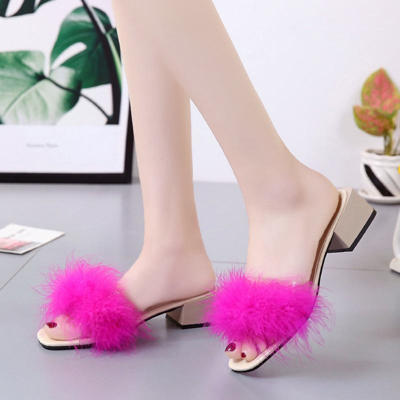 SHDIWEIKE Rosy Red Furry Slide Feather Square Heel Bottom for Women