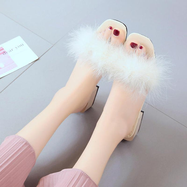 SHDIWEIKE White Furry Slide Sweet Feather Square Heel Bottom for Women
