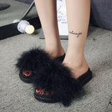 Skinfullysweet Black Faux Fur Sliders For Women