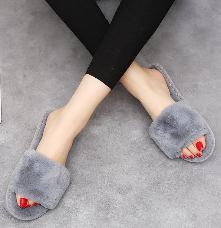 Wenkouban Grey Fluffy Slippers Designer Fur For Women