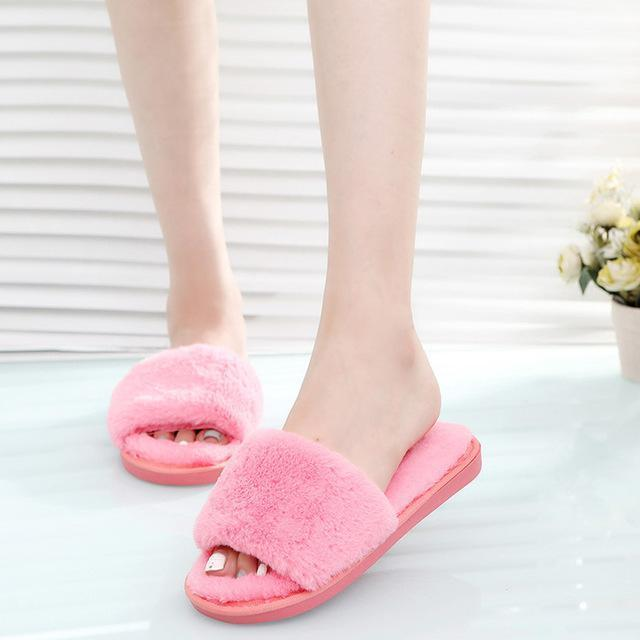 Wenkouban Pink Fluffy Slippers Designer Fur For Women