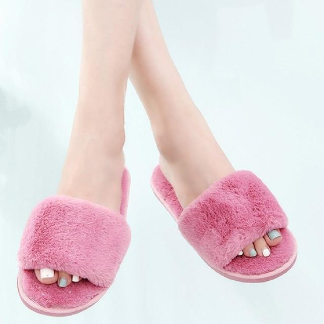 Wenkouban Red Bean Paste Designer Fluffy Slippers Fur For Women