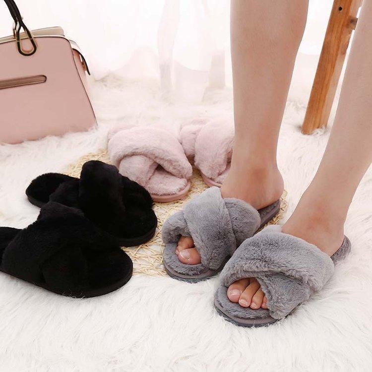 Wensilian Grey Women Slippers Winter Furry Slides