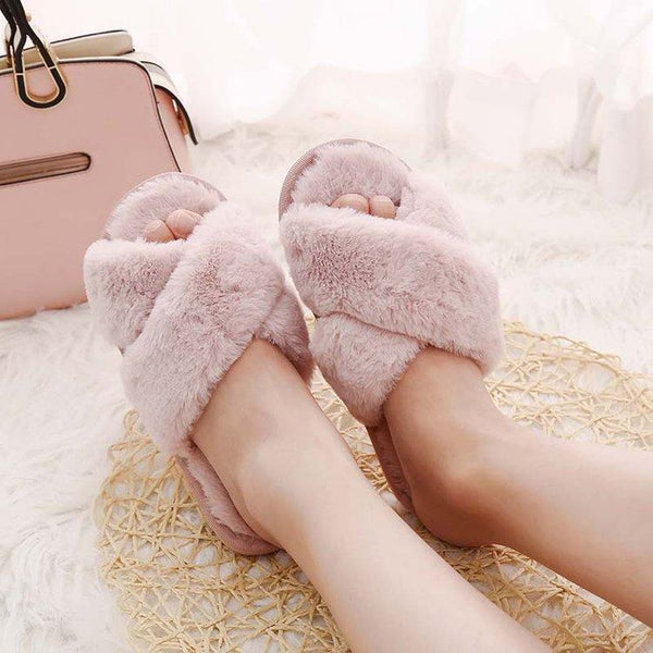 Wensilian Pink Women Slippers Winter Furry Slides