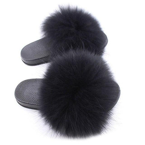 ZHENBAILI Black Faux Fur Sliders Fluffy Sliders for Women
