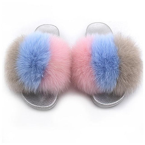 ZHENBAILI Brown Blue Pink Faux Fur Sliders Fluffy Sliver Sole Women