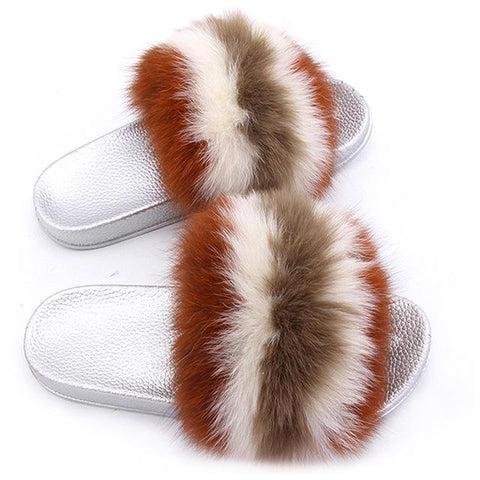 ZHENBAILI Brown Cream Fluffy Sliders Faux Fur Silver Sole For Ladies