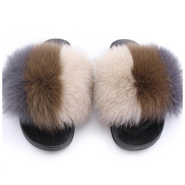 ZHENBAILI Brown Cream Grey Furry Sliders Fluffy Sliders for Women