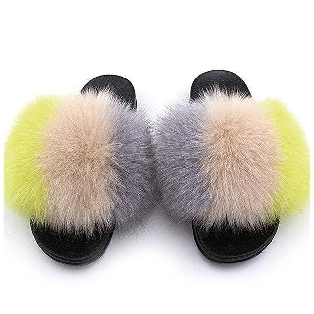 ZHENBAILI Cream Grey Yellow Fluffy Faux Fur Sliders For Women