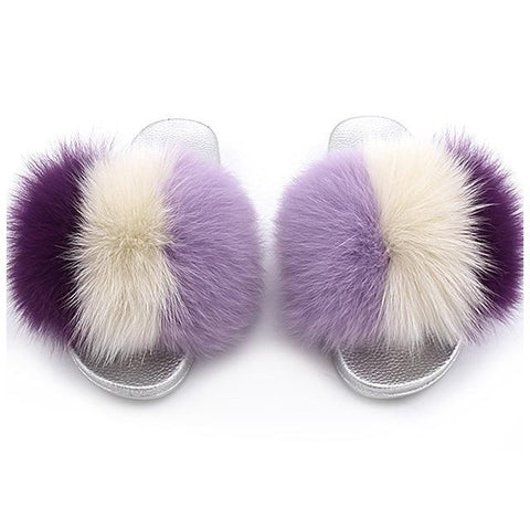ZHENBAILI Cream Purple Extra Fluffy Slides For Women
