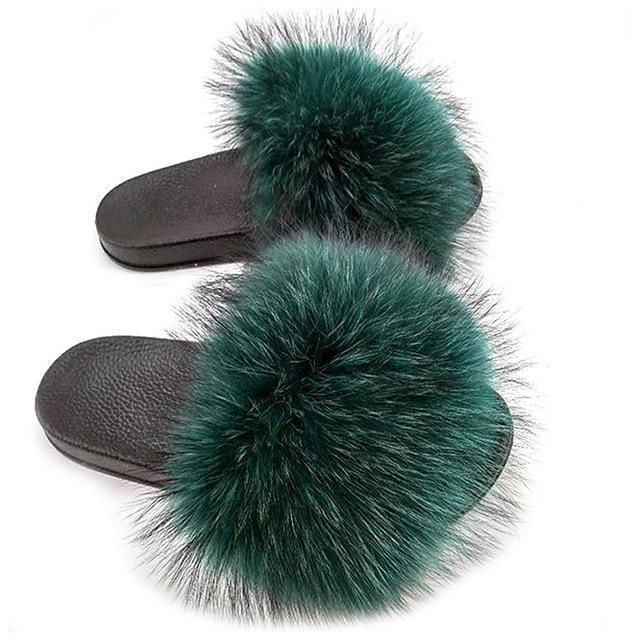 ZHENBAILI Dark Green Faux Fur Sliders Furry Flat Sliders for Women
