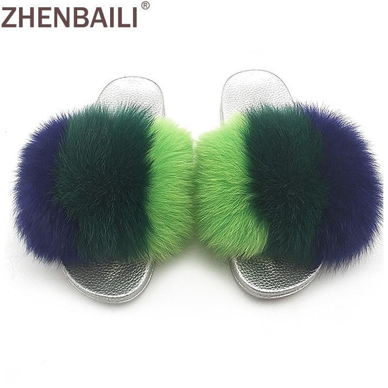 ZHENBAILI Green Purple Faux Fur Sliders Fluffy Sliver Sole For Women