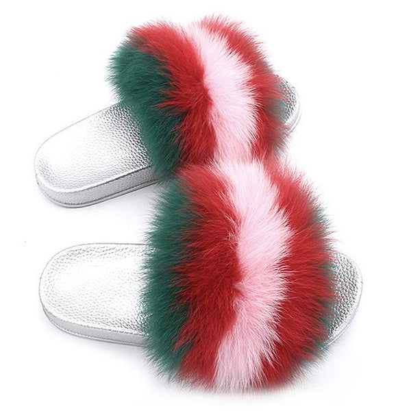 ZHENBAILI Green Red Pink Fluffy Sliders Faux Fur Silver Sole For Ladies