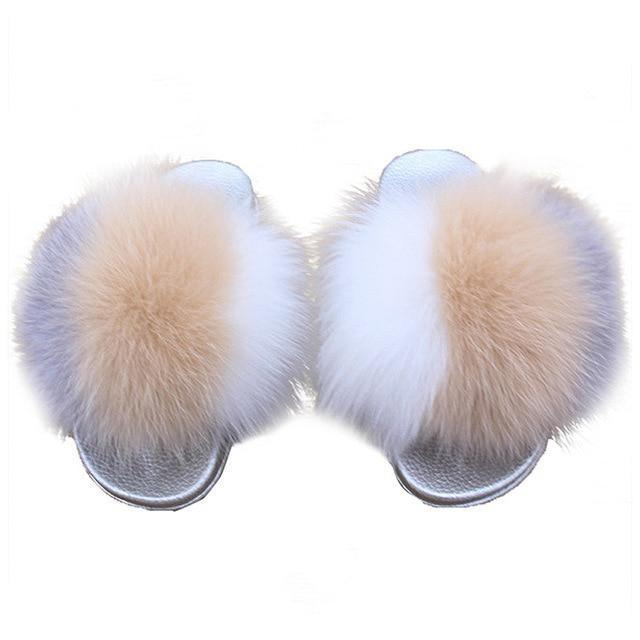 ZHENBAILI Grey Cream White Faux Fur Sliders Sliver Sole For Women