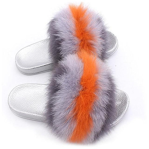 ZHENBAILI Grey Orange Fluffy Sliders Faux Fur Silver Sole For Ladies