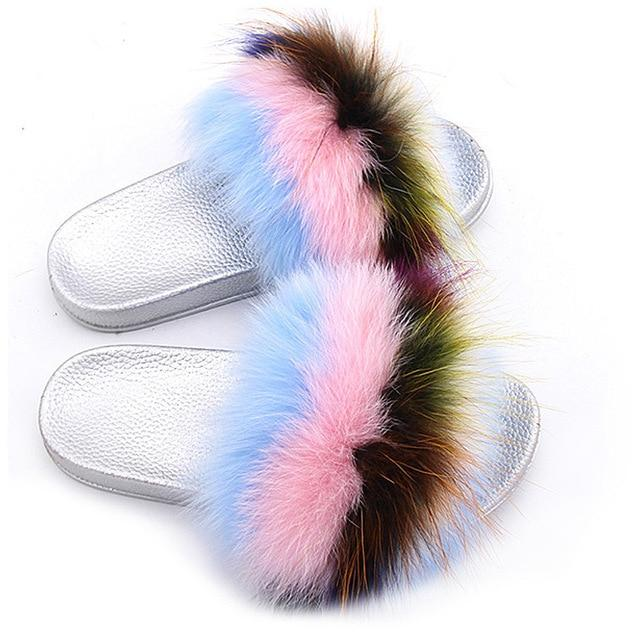 ZHENBAILI Multi Colour Fluffy Sliders Faux Fur Silver Sole For Ladies