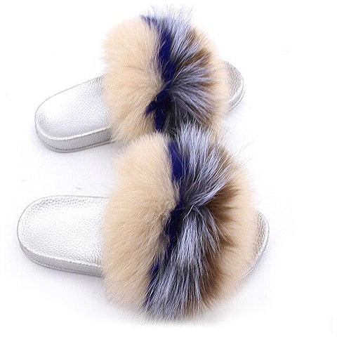 ZHENBAILI Neutral Colours Fluffy Sliders Faux Fur Silver Sole For Ladies