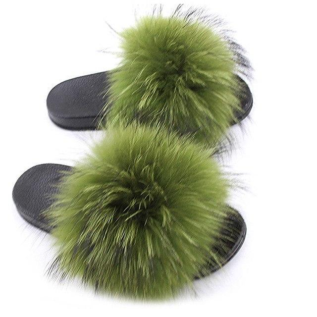ZHENBAILI Olive Green Faux Fur Slides Fluffy Sliders for Women