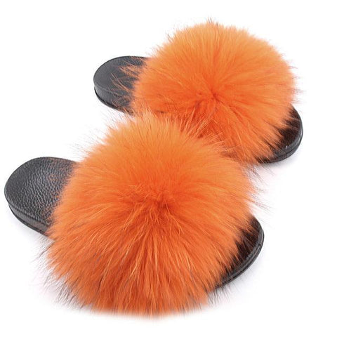 ZHENBAILI Orange Faux Fur Slides Fluffy Sliders for Women