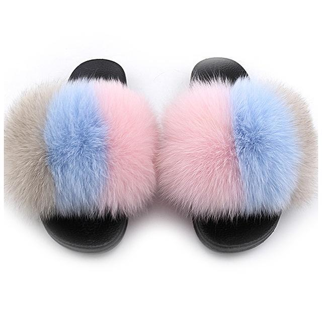 ZHENBAILI Pink Blue Grey Big Faux Fur Slides Fluffy Sliders for Women
