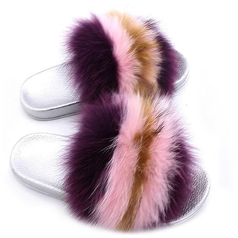 ZHENBAILI Purple Pink Brown Fluffy Sliders Faux Fur Silver Sole For Ladies