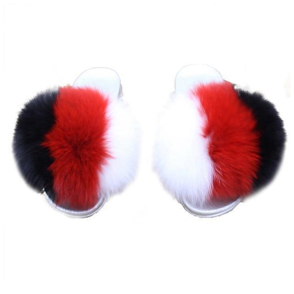 ZHENBAILI White Black Red Faux Fur Slides Sliver Sole For Women