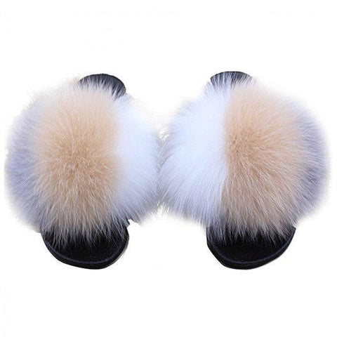 ZHENBAILI White Grey Brown Fluffy Faux Fur Sliders for Women