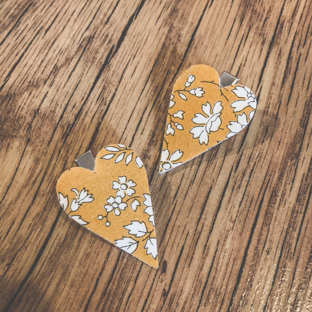 Liberty Capel mustard, heart fringe clips