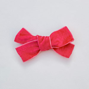 Bright pink, velvet, hand tied hair bow