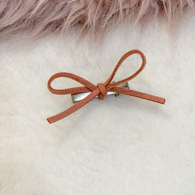 Peach, faux suede, hand tied petite, hair bow