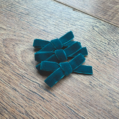 Teal velvet, hand tied petite hair bow