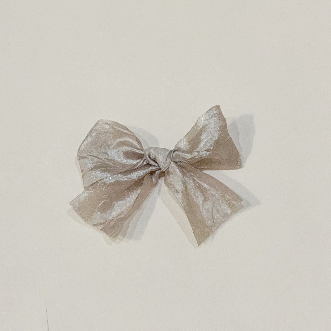 Silver grey, silky crush, hand-tied hair bow