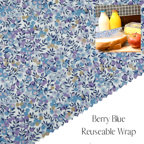 Liberty of London, Berry blue , bees wax reusable wrap