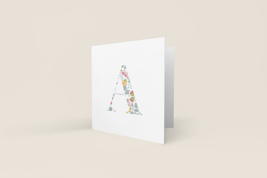 Liberty of London, personalised Greetings card, Betsy blue