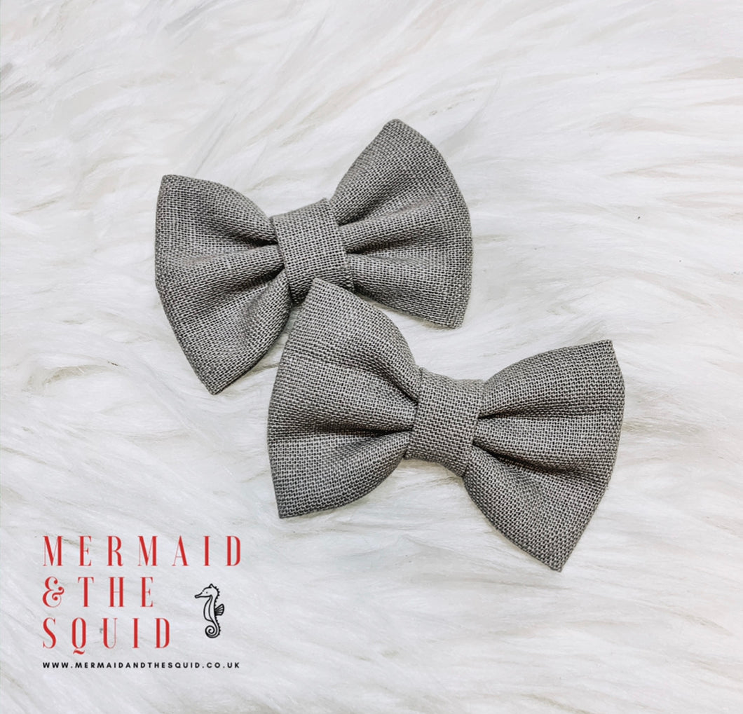 Pewter, linen, Classic, hair bow