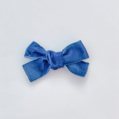 Blue, velvet, hand tied hair bow